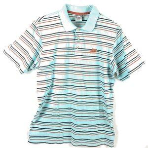 Nike Polo Shirt Light Blue Red Green White Short S